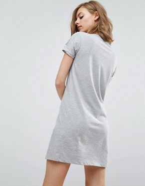 photo Lace Up Front T-shirt Dress by ASOS, color Grey - Image 2