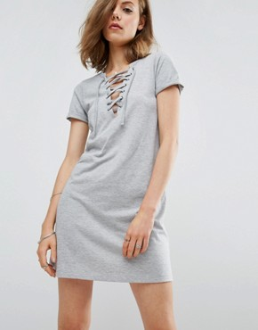 photo Lace Up Front T-shirt Dress by ASOS, color Grey - Image 1