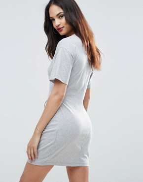 photo Corset Detail T-Shirt Dress by ASOS, color Grey Marl - Image 2