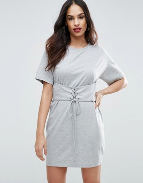 photo Corset Detail T-Shirt Dress by ASOS, color Grey Marl - Image 1