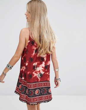 photo Choker Detail Swing Dress In Tie Dye Sun Print by Kiss The Sky, color Red - Image 2