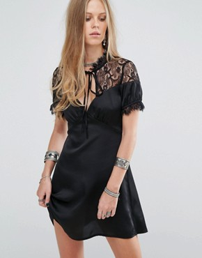 photo Tea Dress with Eyelash Lace Trim by Kiss The Sky, color Black - Image 1