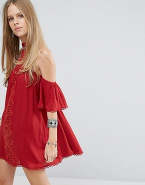photo Choker Detail Cold Shoulder Dress with Lace Panel by Kiss The Sky, color Red - Image 1
