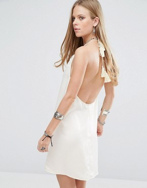 photo Halter Neck Slip Dress with Lace Insert and Tassel Ties by Kiss The Sky, color Cream - Image 2