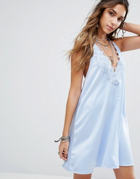 photo Halter Neck Slip Dress with Lace Insert and Tassel Ties by Kiss The Sky, color Light Blue - Image 1