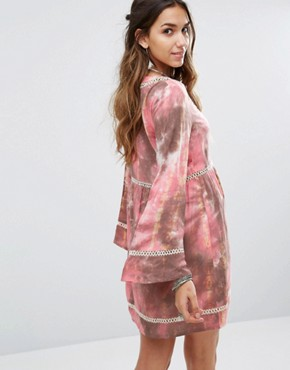 photo Smock Dress with Ladder Inserts In Tie Dye by Kiss The Sky, color  - Image 2