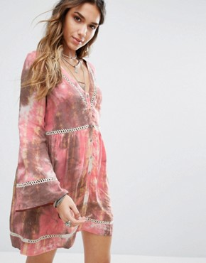 photo Smock Dress with Ladder Inserts In Tie Dye by Kiss The Sky, color  - Image 1