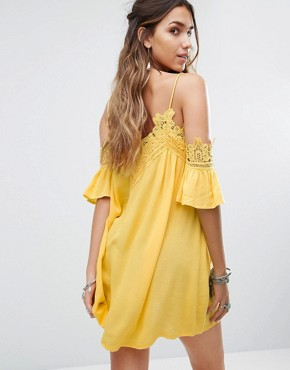 photo Cold Shoulder Cami Swing Dress with Lace Trims by Kiss The Sky, color Yellow - Image 2
