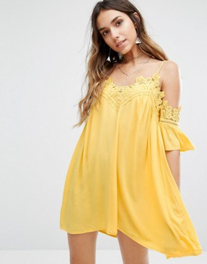 photo Cold Shoulder Cami Swing Dress with Lace Trims by Kiss The Sky, color Yellow - Image 1