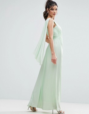 photo Lace Insert Sash One Shoulder Maxi Dress by ASOS, color Mint Green - Image 2