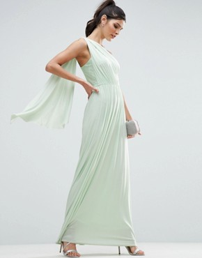 photo Lace Insert Sash One Shoulder Maxi Dress by ASOS, color Mint Green - Image 1