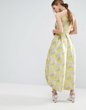photo Beautiful Floral Jacquard Midi Prom Dress by ASOS SALON - Image 2