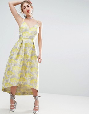 photo Beautiful Floral Jacquard Midi Prom Dress by ASOS SALON - Image 1