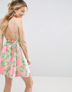 photo Floral Organza Pinny Mini Prom Dress by ASOS SALON, color  - Image 2