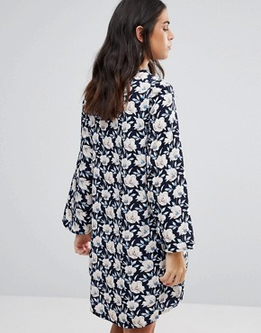 photo Long Sleeve Floral Dress by Madam Rage, color Navy - Image 2