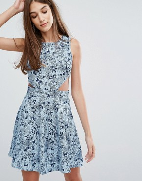 photo Chambray Cut-Out Dress by Madam Rage, color Blue - Image 1