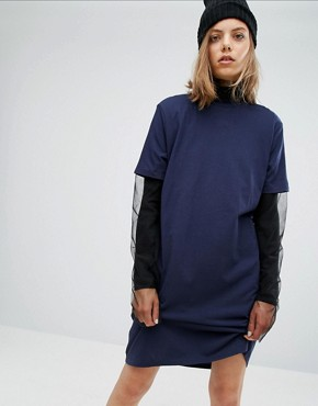 photo Cut Out Racer Back T-Shirt Dress by Cheap Monday, color Navy - Image 2