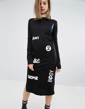 photo Slogan High Neck Dress by Cheap Monday, color Black - Image 1