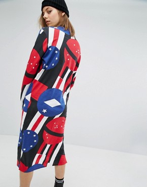 photo Banner Print High Neck Dress by Cheap Monday, color Royal Blue - Image 2