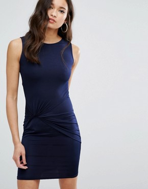 photo Mini Dress With Knot Front by Girls on Film, color Navy - Image 1