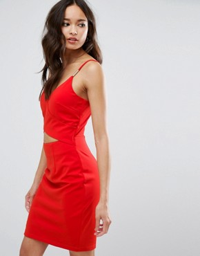 photo Cut Out Dress by Girls on Film, color Tomato Red - Image 1