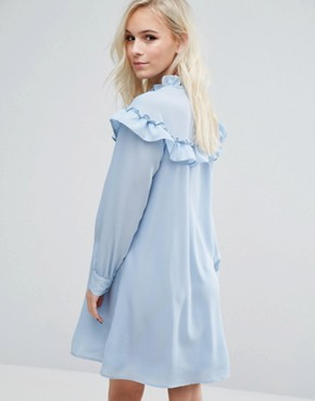 photo High Neck Ruffle Smock Dress by Vero Moda Petite, color Blue - Image 2
