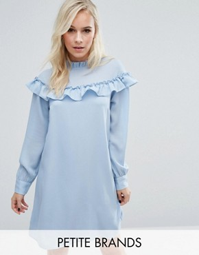 photo High Neck Ruffle Smock Dress by Vero Moda Petite, color Blue - Image 1