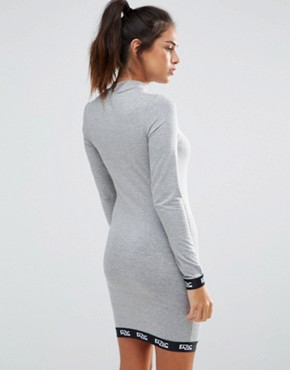 photo Long Sleeve Bodycon Dress by Baziic, color Grey - Image 2