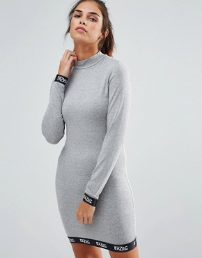 photo Long Sleeve Bodycon Dress by Baziic, color Grey - Image 1