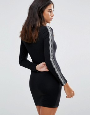 photo Long Sleeve Bodycon Dress by Baziic, color Black - Image 2