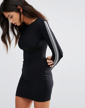 photo Long Sleeve Bodycon Dress by Baziic, color Black - Image 1
