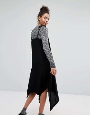 photo Hanky Hem Tie Shoulder Midi Dress by Monki, color Black - Image 2