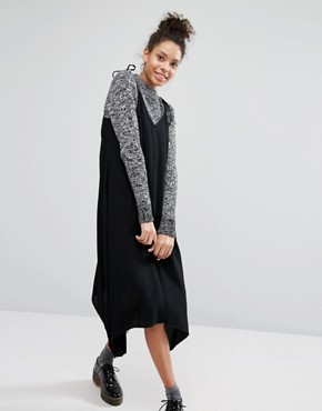 photo Hanky Hem Tie Shoulder Midi Dress by Monki, color Black - Image 1