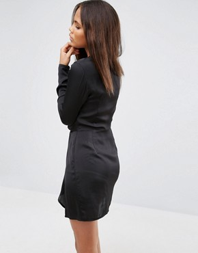 photo Plunge Wrap Dress by Missguided Tall, color Black - Image 2