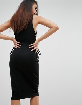 photo Lace-Up Midi Dress by Kendall + Kylie, color Black - Image 2