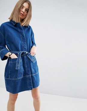 photo Denim Belted Shirt Dress by ASOS WHITE, color Blue - Image 1
