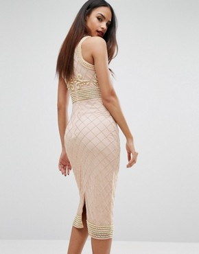 photo High Neck Pearl Embellished Midi Dress by Starlet, color Nude - Image 2