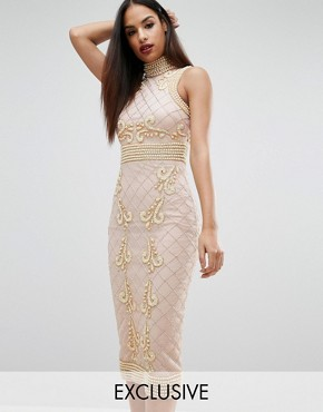 photo High Neck Pearl Embellished Midi Dress by Starlet, color Nude - Image 1