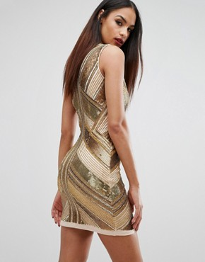 photo Panelled Sequin Mini Dress by Starlet, color Gold - Image 2