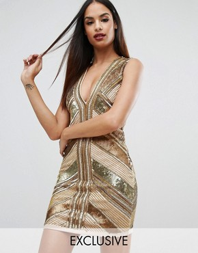 photo Panelled Sequin Mini Dress by Starlet, color Gold - Image 1