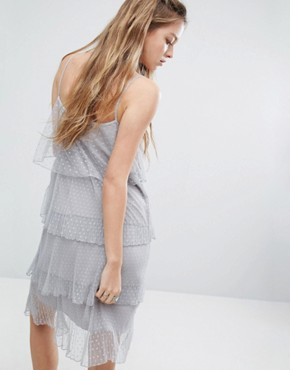 photo Layered Lace Cami Dress by Navy London, color Grey - Image 2