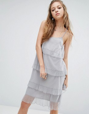 photo Layered Lace Cami Dress by Navy London, color Grey - Image 1