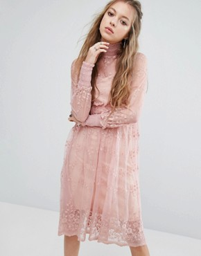 photo High Neck Lace Midi Dress by Navy London, color Rose - Image 1
