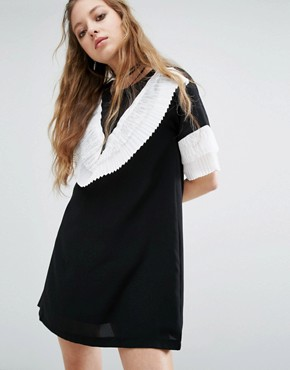 photo Mini Dress with Exaggerated Frill by Navy London, color Black - Image 1