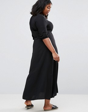 photo Maxi Tea Dress with 3/4 Sleeves by Alice & You, color Black - Image 2