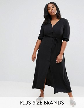 photo Maxi Tea Dress with 3/4 Sleeves by Alice & You, color Black - Image 1