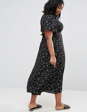 photo Bird Printed Midi Tea Dress by Alice & You, color Black - Image 2