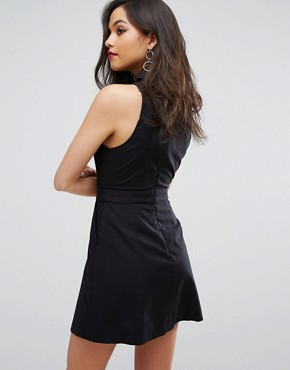 photo Let It Go Short Sleeve Shirt Dress by C/meo Collective, color Black - Image 2