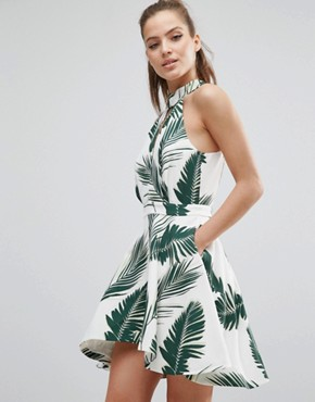 photo Witness Dress by C/meo Collective, color Pine Maui Print - Image 1