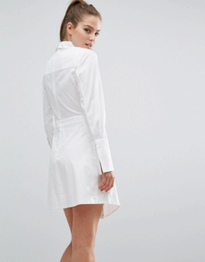 photo Let It Go Long Sleeve Shirt Dress by C/meo Collective, color White - Image 2